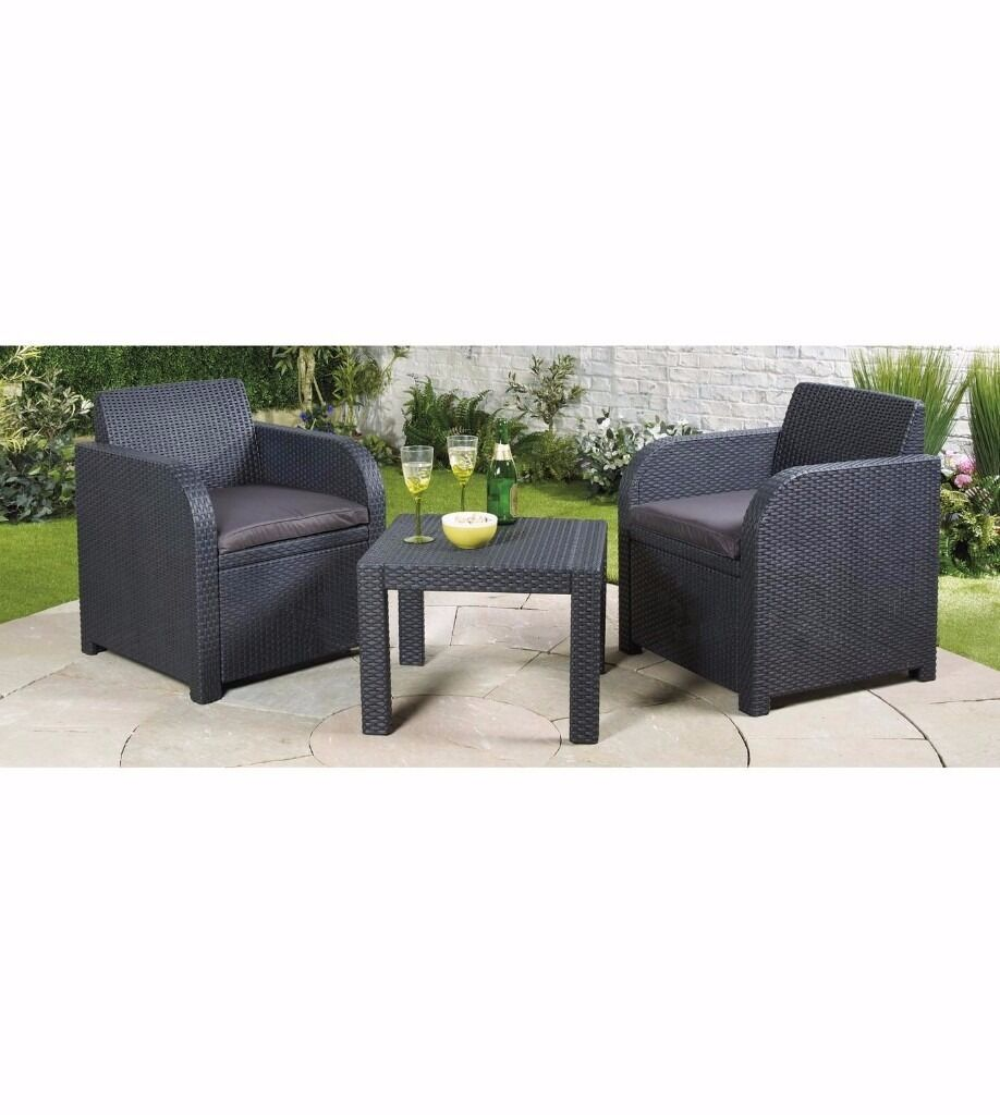 Brand New Carolina All Weather Balcony Set 2 ChairsTable Black Patio Garden Setin Stoke on Trent, StaffordshireGumtree - Brand New , Flat Packed Rattan effect 3 piece set including 2 armchairs and one table. Matching wipe clean cushions. Easy snap together assembly. Size of chairs H77 x W65 x D63 (30½ x 25½ x 25) Size of table H43 x W59 x D59cm (17 x 23¼ x 23¼)....