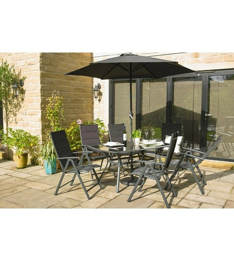 Brisbane 6 piece 4 reclining chairs table outdoor parasol dining set grey