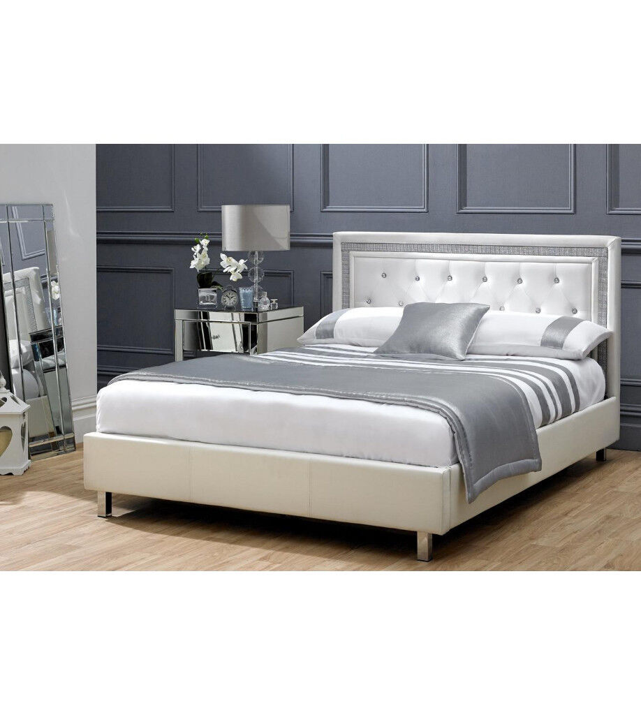 Double, Diamond buttons, crystal bed, Leather Bed, with, Quilted ...