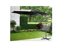 Brand New Garden Patio Cantilever Outdoor Hanging Umbrella with Crank Mechanism Parasol - Black