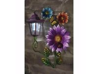 Solar flower wall plaque