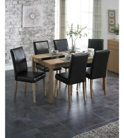 Winchester High Quality 5 Piece Dining Table 4 Faux Leather Chairs Dining Set - Ash/Black