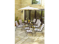 Brand New Edinburgh 11 Piece Padded Armchairs Dining Table Garden Outdoor Lounge Set - CREAM