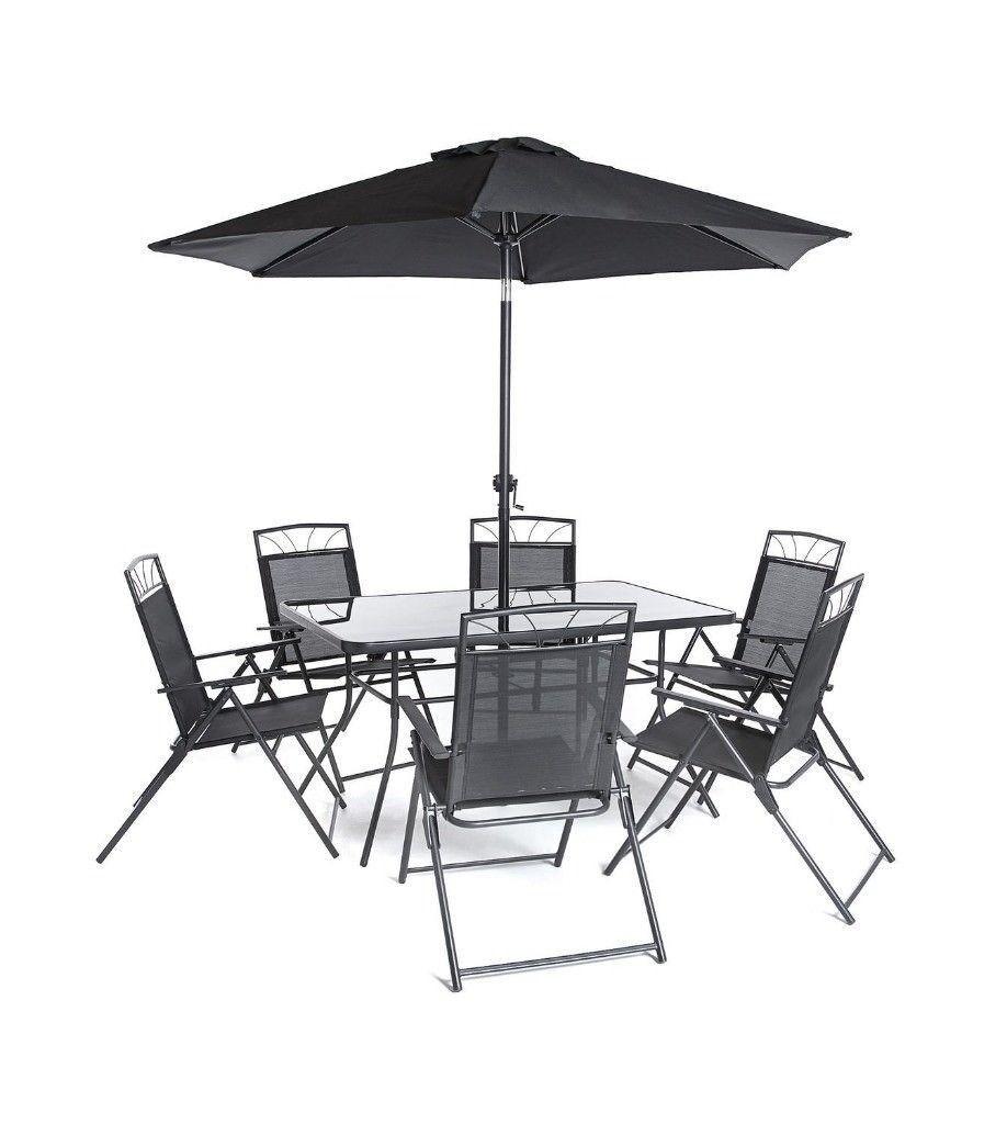Brand New Kent 6 Chairs Gl Top Table With Tilt Parasol 8 Piece Garden Outdoor