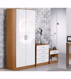 Luxury Carleton 3-Piece High Gloss Bedroom Set BRAND NEW HOME FURNITURE - WHITE/OAK