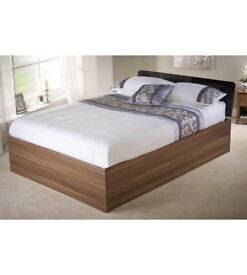 Carleton High Gloss Modern Stylish Lift Up 4FT6 Double Storage Bed in Black/Walnut