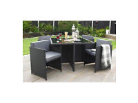 Brand New Monaco 5 Piece Rattan Effect Cube Hideaway Garden Outdoor Set - Black/Grey