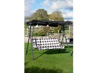 Brand New Padded Garden Courtyard 3 Seater Bench Swing Hanging Hammock - Cream
