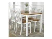 Brand New Malvern 5 Piece Dining Wooden Table 4 Chairs Dining Set - White/Oak