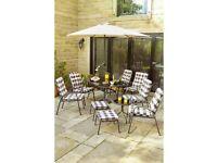 Brand New Edinburgh 11 Piece Padded Dining Table Garden Outdoor Patio Lounge Set - CREAM