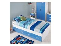 Brand New 3FT High Gloss Storage Drawers Super Strong Carleton Single Bed - Blue/White