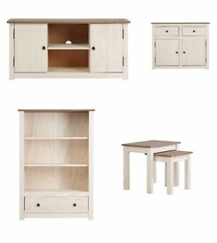 NEW! Solid Pine wood TV Unit Sideboard Bookcase Nest Of Tables Two Tone furniture set