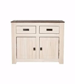 NEW Contemporary Solid Wood Solid Pine Sideboard 2 door with 2 Drawers in Two-Tone whitewashed