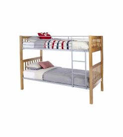 BRAND NEW BEST BUY! Kids Teens Adult Dorm Metal Twin Over Ladder Full Bunk Beds - OAK EFFECT