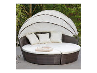 Brand New Sicily Modular Rattan Day Bed Wicker With Canopy Outdoor Garden Patio Set - Brown/Cream