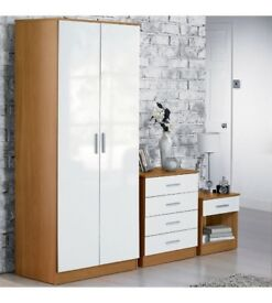 Carleton 2 Piece High Gloss 2 Door Wardrobe + Chest with Drawers Bedroom Set - White/Oak
