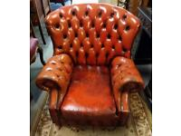 Pair good leather vintage chesterfield arm chairs