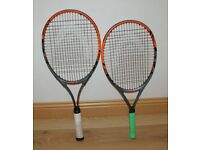 Two HEAD Radical tennis rackets for sale, used in excellent condition 27 and 25 inches, adult&junior