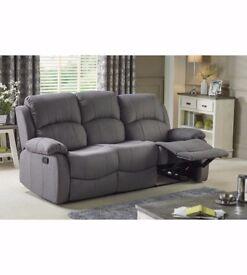 Brand New CHRISTMAS SALE 3 Seater Soft Fabric Push Back Comfort Recliner Sofa - Grey