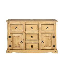 Santana 2 Door 5 Drawer Wooden Large Sideboard Storage Cabinet - Antique Pine