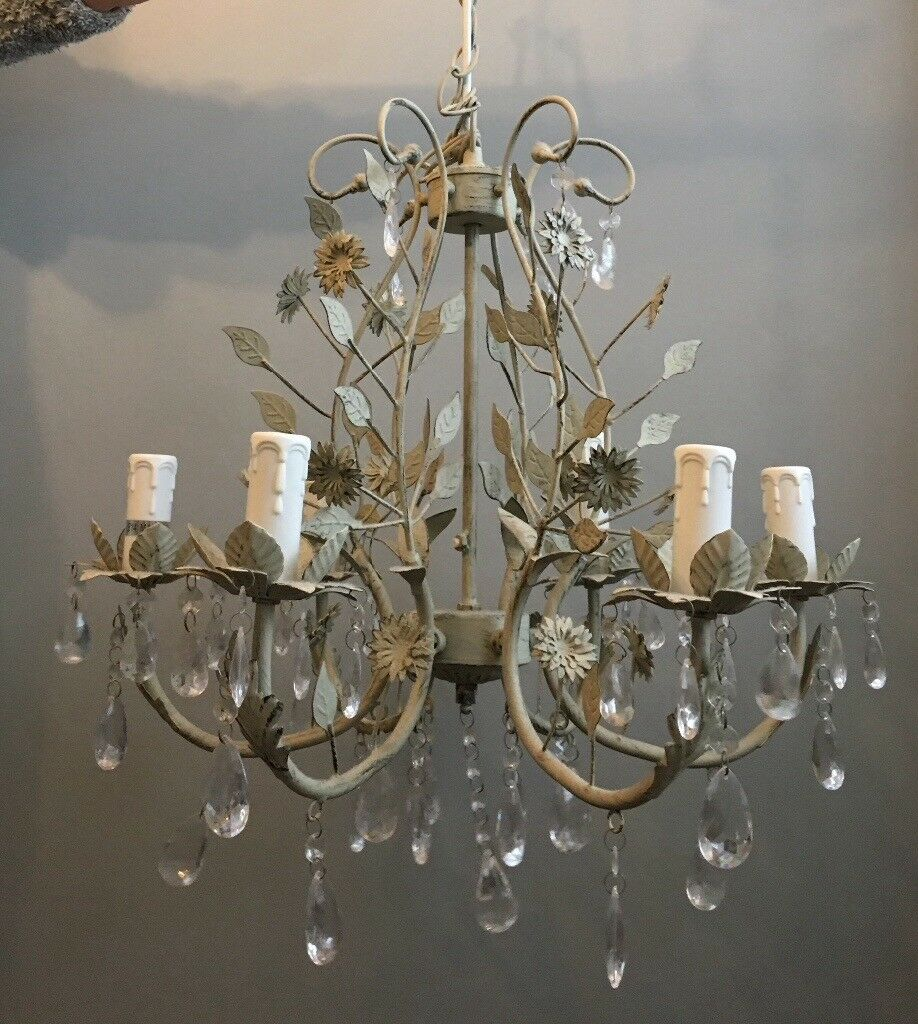 Ceiling Light Chandelier Shabby Chic Style Metal Flower And Crystal Droplets