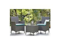 Brand New Malibu 3 Piece Rattan Conservatory Patio Bistro Set - Grey/Blue