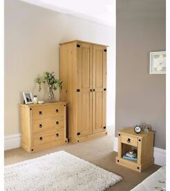 NEW 3PC 3Solid Pine 3-Piece Bedroom Set with Bedside Table, 3-Drawer Chest and 2-Door Wardrobe