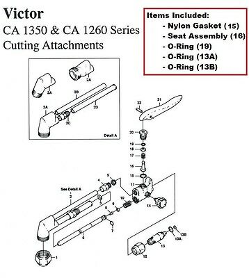 Victor Ca1350 Ca1260 Cutting Torch Rebuildrepair Parts Kit Ca25 Ca270