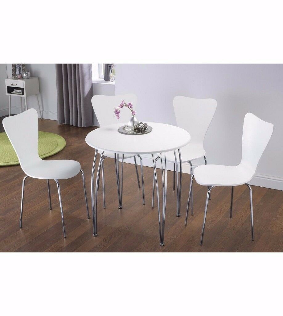 Brand new Modern 5 piece dining round table 4 chairs set wooden with chrome Black Or White