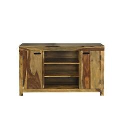Brand New Contemporary Design Goa Large Free Standing Solid Sheesham Wood Sideboard 4 Shelves