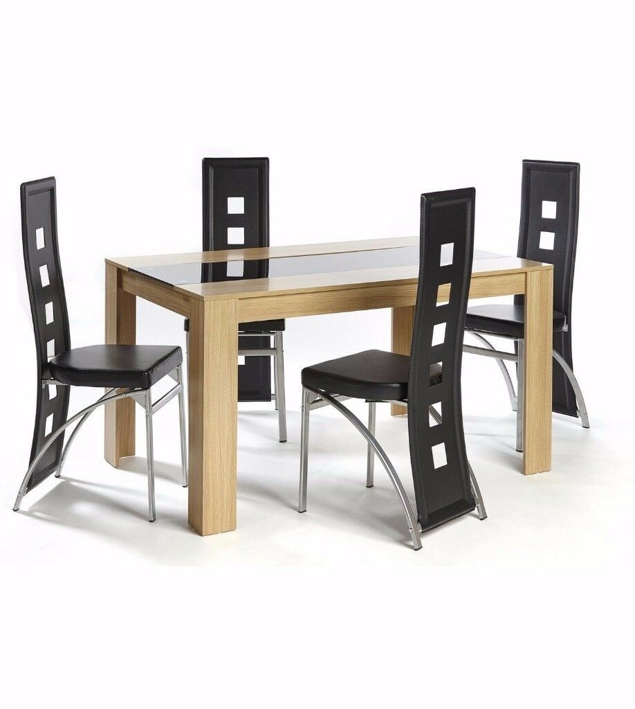 Brand new hudson 5 piece dining set large table 4 chairs oak black home furniture