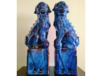 PAIR of Large Tall Blue Chinese Foo Dogs Fo Fu Oriental Asian Guardian Lion Statues Figures Bookends