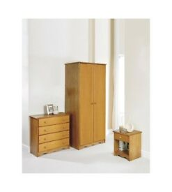 Brand New Trafford Wardrobe 4 Drawer Chest and Bedside Table 3 Piece Bedroom Set - Pine