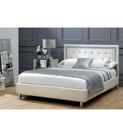 Crystal diamond, leather Bed, Double, king size,, Sprung Mattress. single bed, white, leather bed,