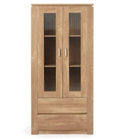 Brand New Montana OAK EFFECT Living Room Furniture Display Cabinet With Storage Drawers