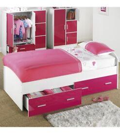 Brand New Childrens Kids Carleton 2 Storage Drawers High Gloss Single Bed - Pink/White