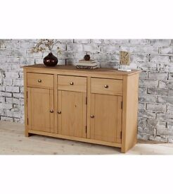NEW Natural Traditional 3 Drawers 3 Shelves Panama Solid Pine Large Sideboard with Metal Handles