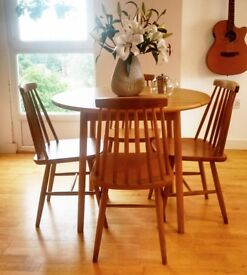 Natural Soild Wood Dining Table Set - Nordic Style Drop Leaf Table with *4 Chairs