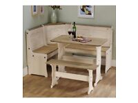 Brand New Rustic Solid Pine Corner Bench Seat up to 6 People Wooden Dining Set - Cream Pine