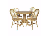 BRAND NEW Windsor 4 Wooden Chairs 1 Rounded Table 5 Piece Dining Set - OAK