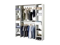 Bedroom storage shelving solution wall unit with shelf and drawers in white