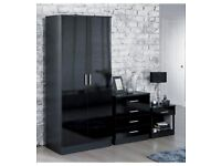 Brand New Carleton 3-Piece High Gloss 2 Door Wardrobe, 4 Drawer Chest and Bedside Table Bedroom Set