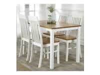 Brand New Malvern High Quality Wooden Table 4 Chairs 5 Piece Dining Set - White/Oak