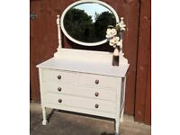 Vintage bedroom dresser with oval mirror, hand painted aged waxed finish