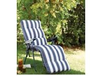 Relaxer reclining sun chair - blue and white striped used twice