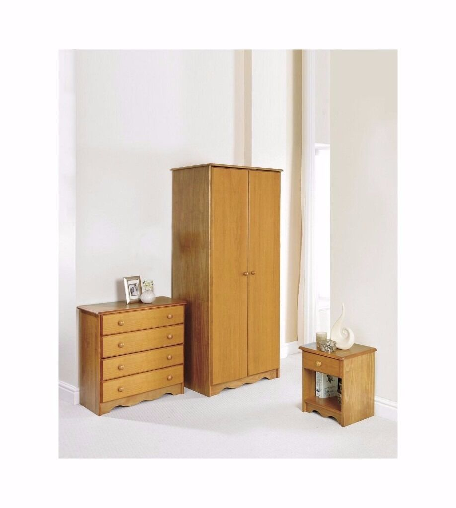 Pine Bedroom Chest Of Drawers Brand New 3pc Trafford Solid Pine Bedroom Set In Honey Pine