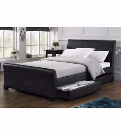 Brand new Storage bed King size 5ft black faux leather with 4 drawers