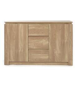 Brand New Montana Oak Effect Wood Effect 3 Drawer 2 Shelves Sideboard