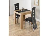 Brand New 3 Piece Hudson Oak Black Glass Tempered Table with 2 Chairs Dining Set
