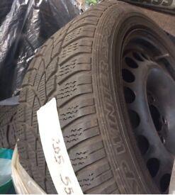 4 winter tyres and steel wheels (Dunlop 205/55/r16 91h) for Mercedes-Benz SLK 2004-2011 model